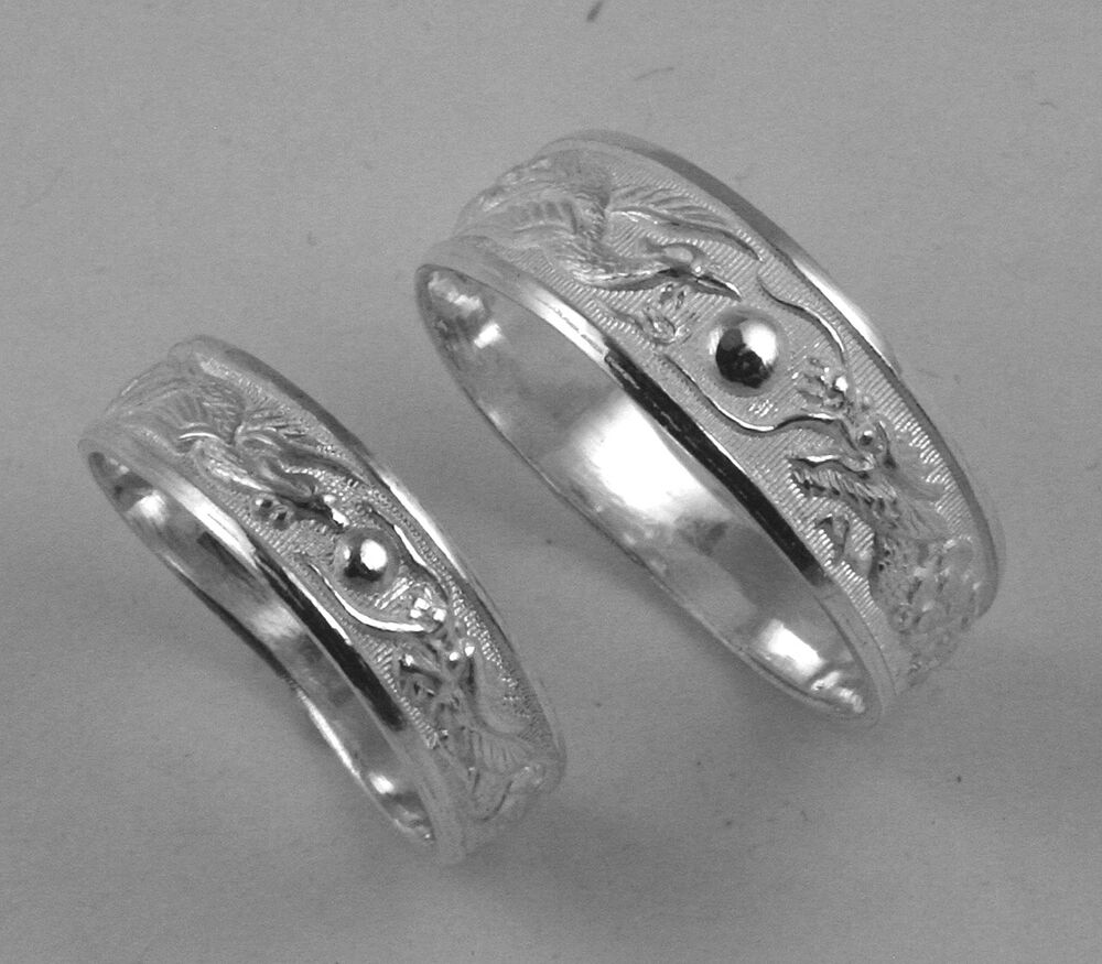 Sterling Silver Dragon Phoenix Rings Wedding Band Set EBay
