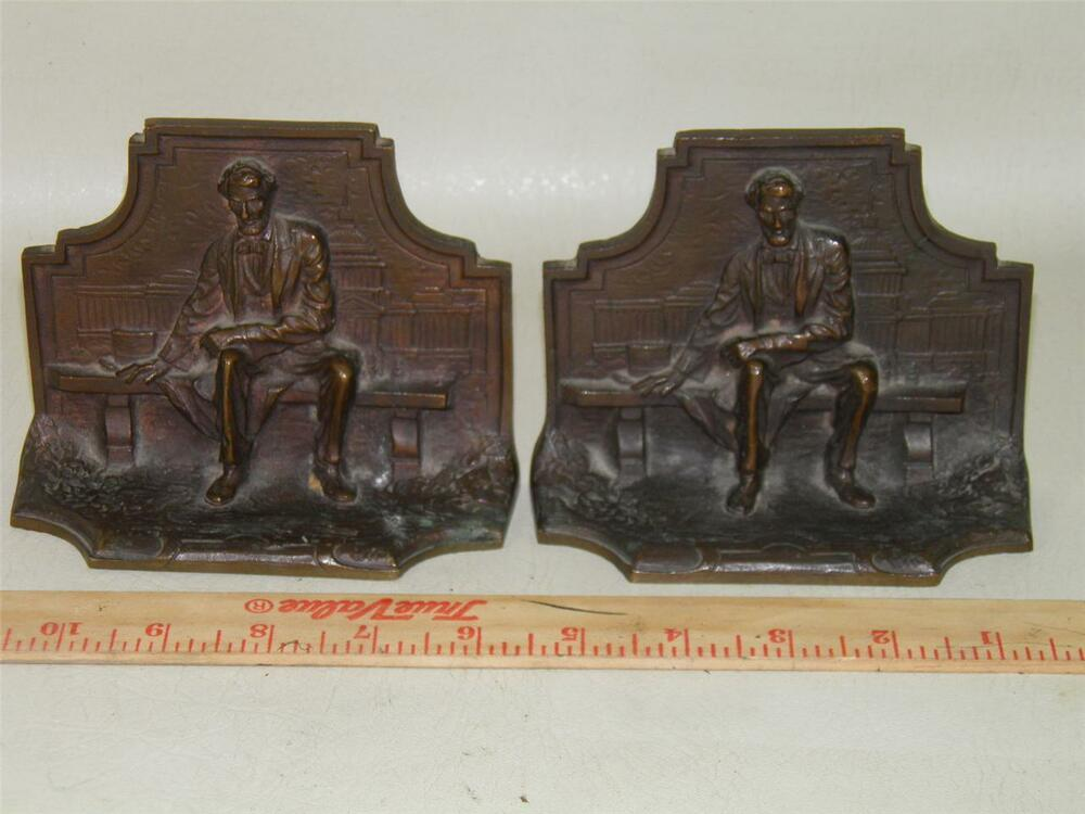 Antique Abe Lincoln Sitting On Bench Solid Bronze Bookends