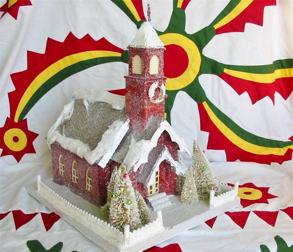 Lighted Paper Mache Christmas Large Country Chapel Church