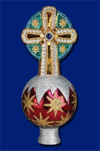 HOLY CROSS TREE TOP OLD WORLD CHRISTMAS GLASS RELIGIOUS