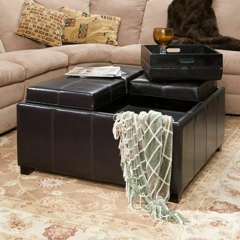 Cube 4 Storage Coffee Table Ottomans