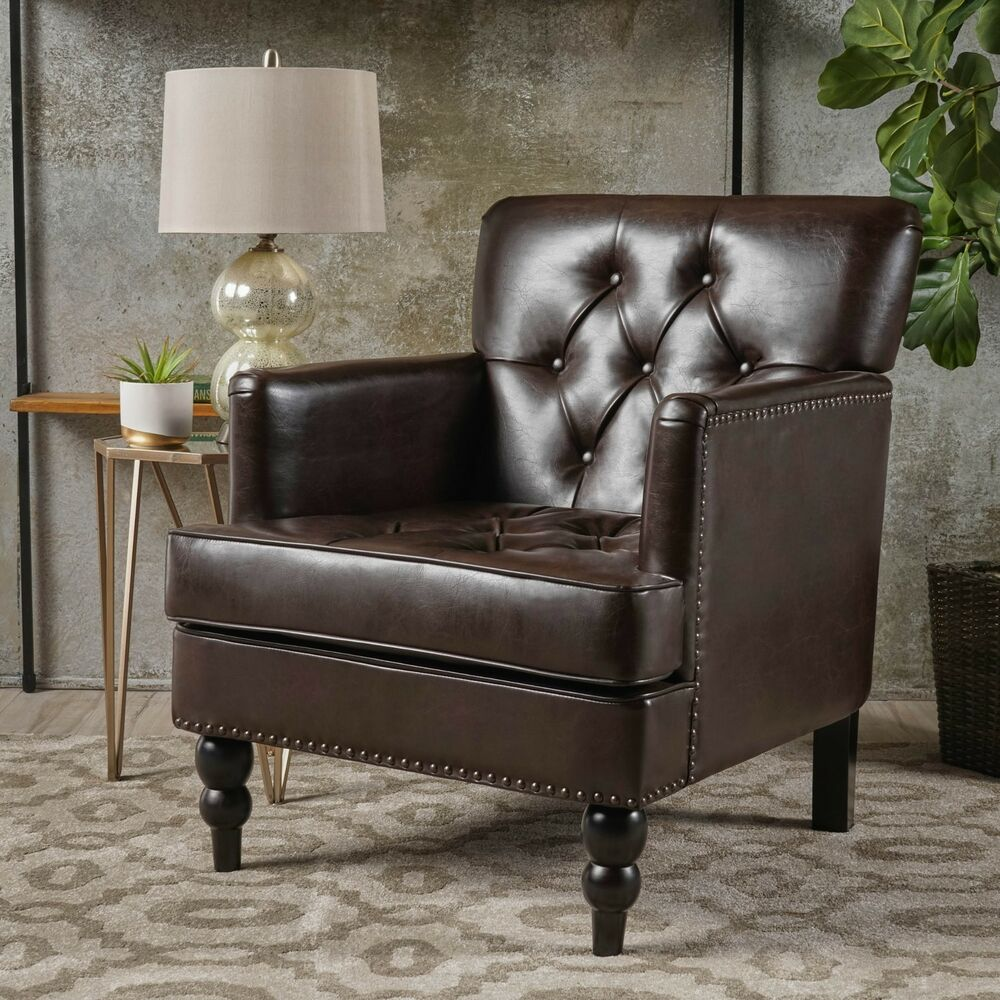Brown Tufted Accent Chair