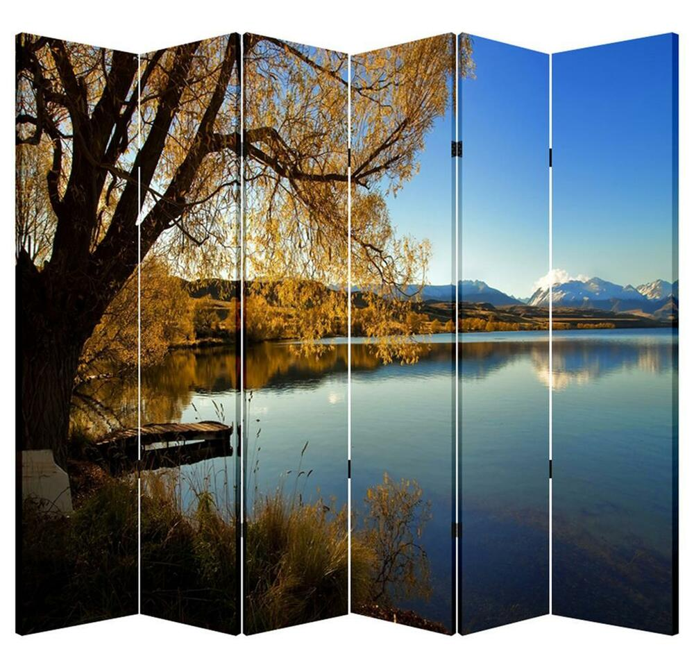 6 Panels 6ft Tall Canvas Art Double Sided Folding Screen