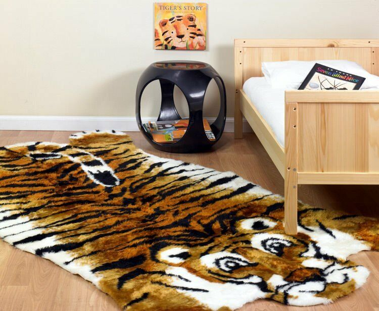 KIDS FAUX FUR TIGER JUNGLE THEME PLAYMAT RUG 5x7 NEW EBay