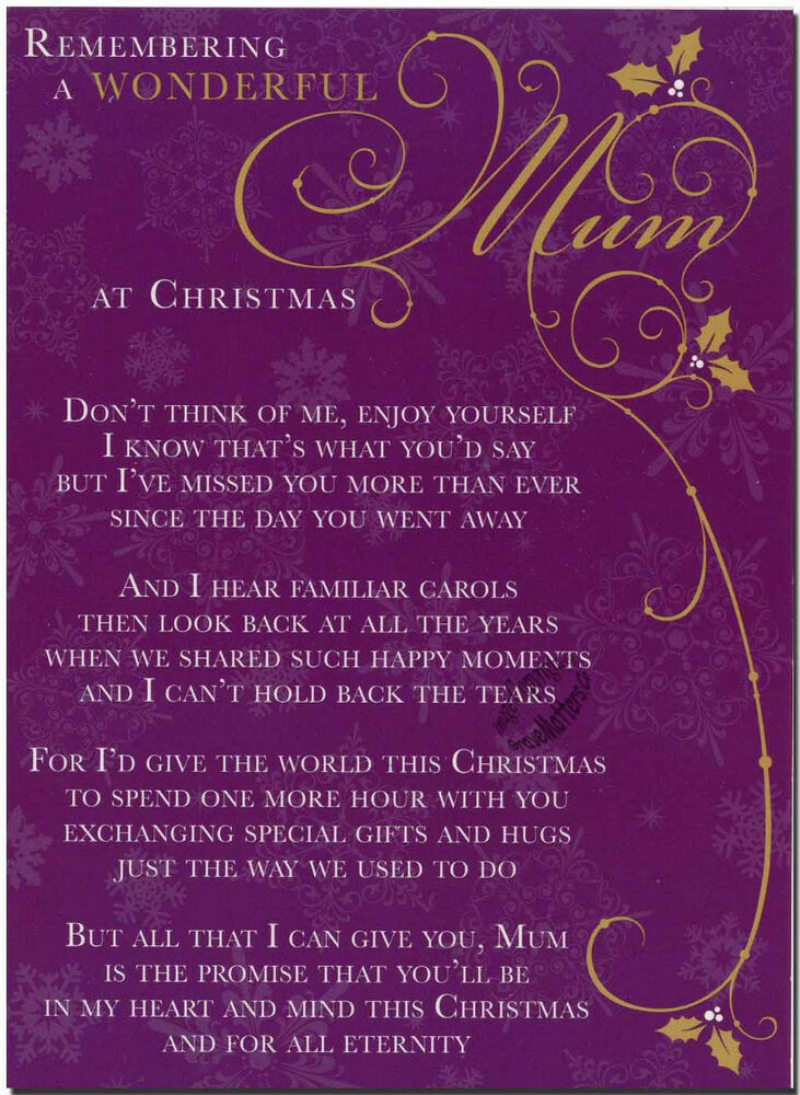 Christmas Grave Card Wonderful Mom FREE Holder C101 EBay