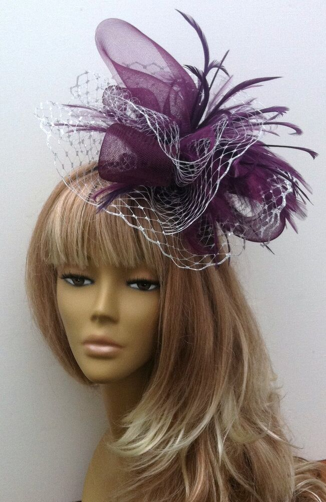 Bespoke PlumSilver Fascinator Hat Weddings Mother Of The