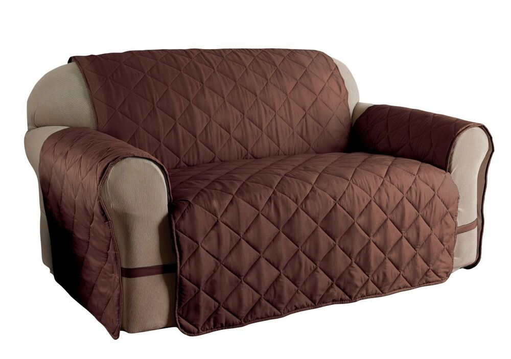 LOVESEAT ULTIMATE FURNITURE PROTECTOR PETS SLIPCOVER MICRO FIBER CHOCOLATE EBay