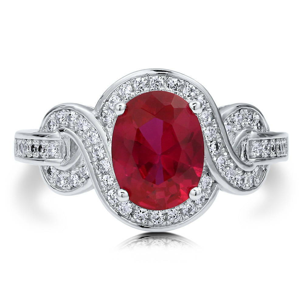 BERRICLE Sterling Silver Oval Simulated Ruby CZ Solitaire Woven Right Hand Ring EBay