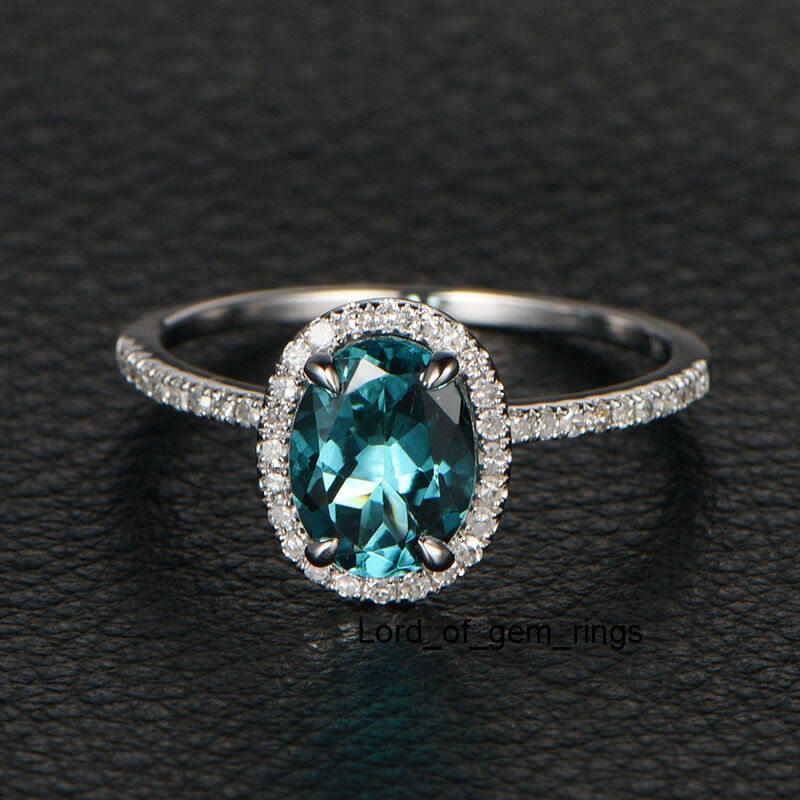 Blue Tourmaline Diamond Engagement Wedding Ring14K White