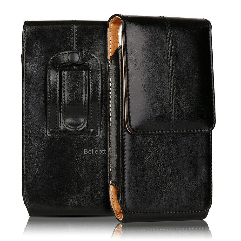 Luxury Leather Vertical Case Pouch For Iphone Samsung With