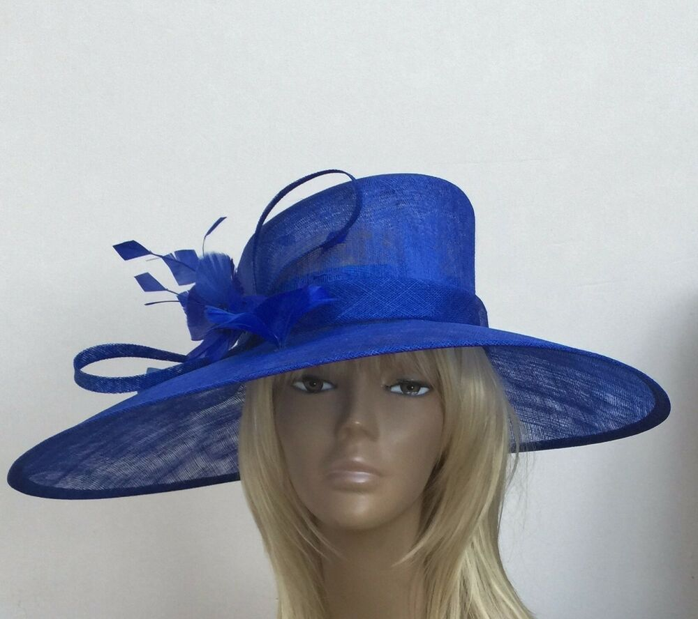 New Large Royal Blue Womens Sinamay Wedding Hat Mother Of