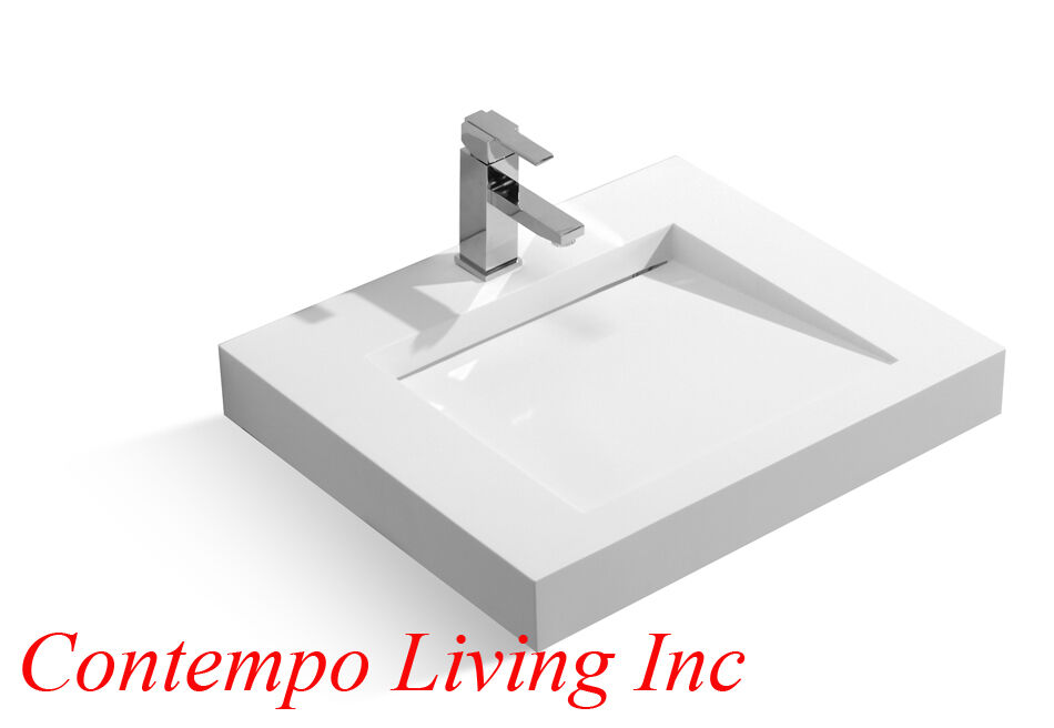 24-Inch Stone Resin Solid Surface Square Shape Bathroom