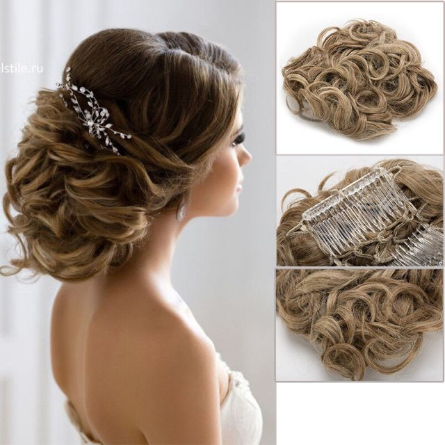 LARGE Comb Clip In Curly Hair Piece  Chignon Updo  Wedding