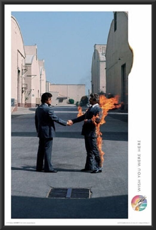 Pink Floyd Wish You Were Here Album Cover Poster In Black Wood Frame 24x36 EBay