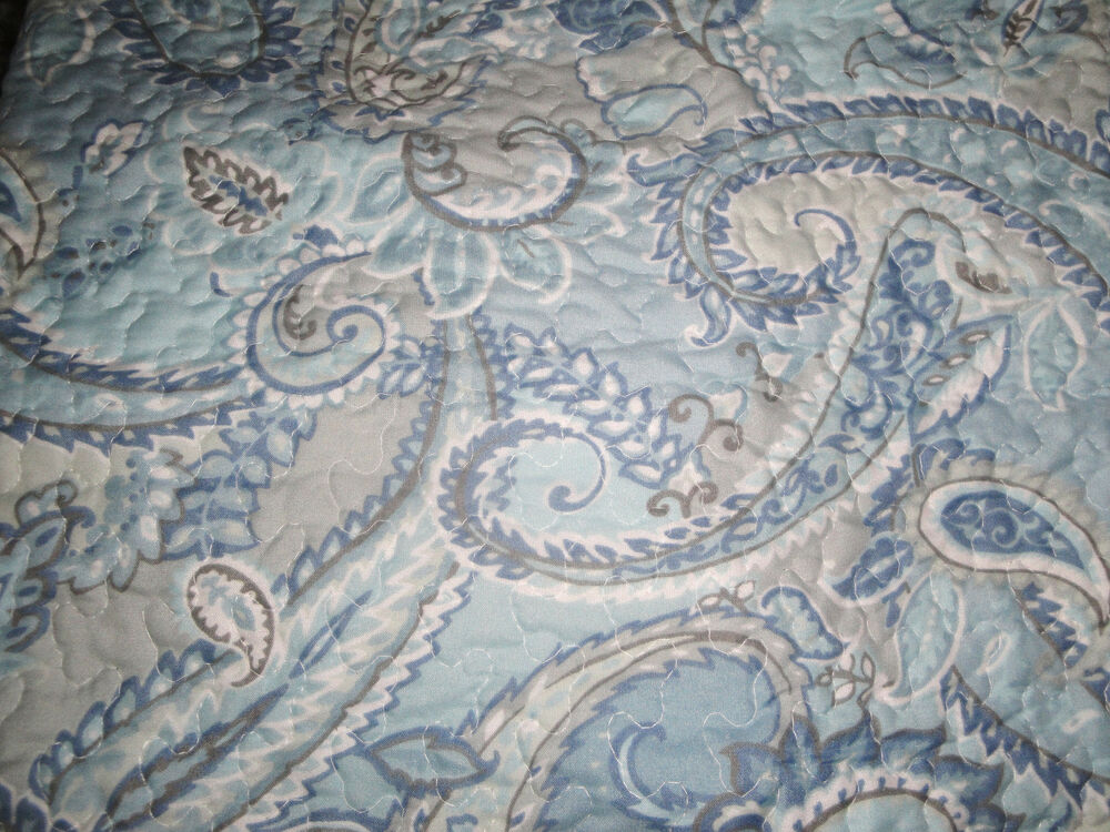 City Chic Blue Grey White Paisley 3p Full Queen Quilt Set