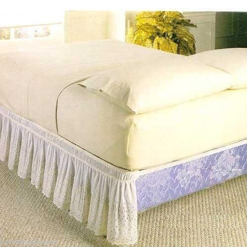 WRAP AROUND EYELET LACE BED SKIRT DUST RUFFLE 18 DROP EBay