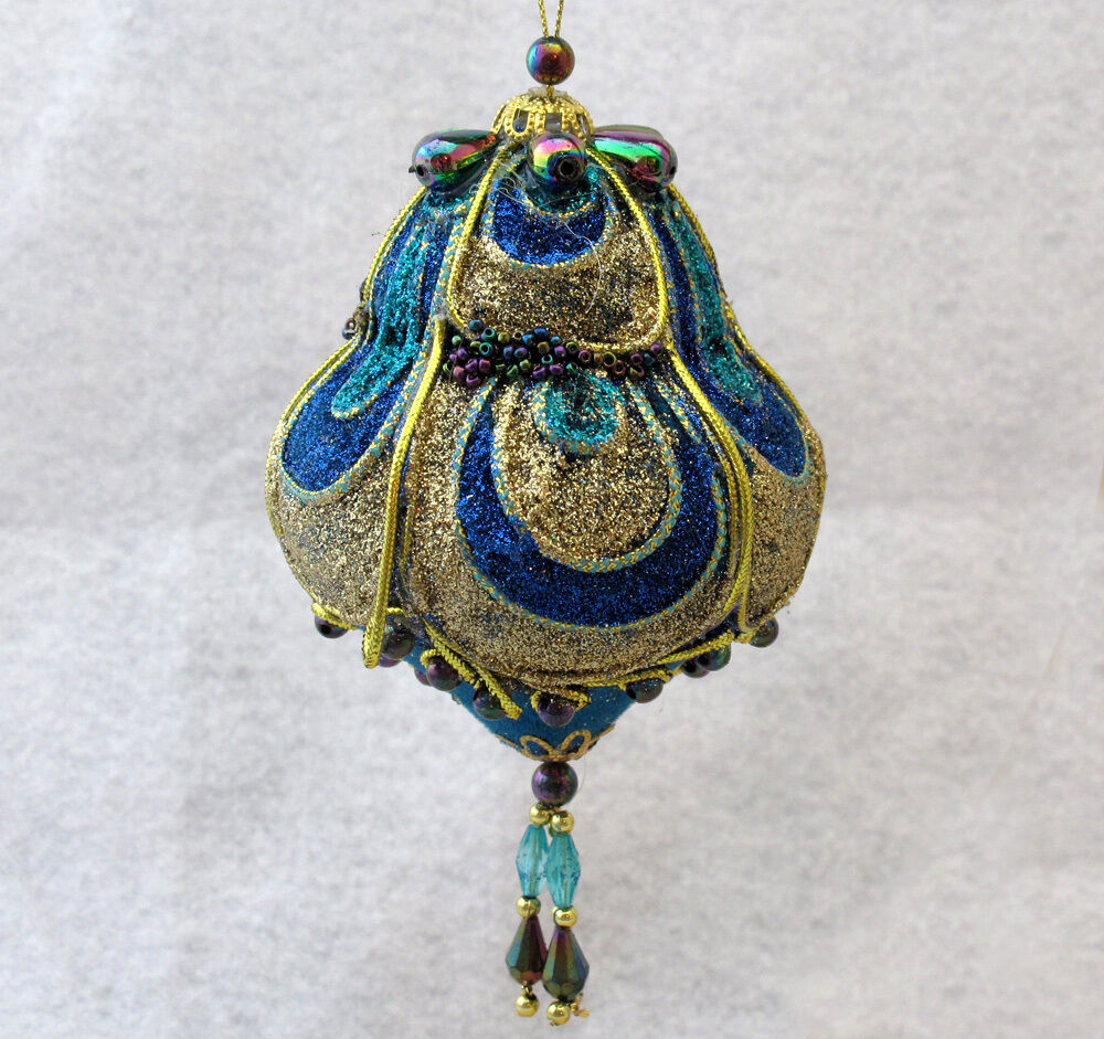 BLUE AND GOLD GLITTER AND BEADS CHRISTMAS ORNAMENT MACYS New EBay