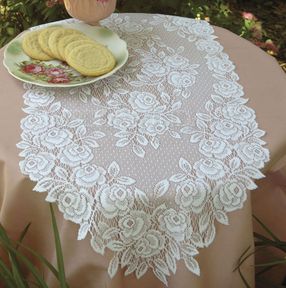 Tea Rose Table Runner By Heritage Lace Choice Of 2 Colors
