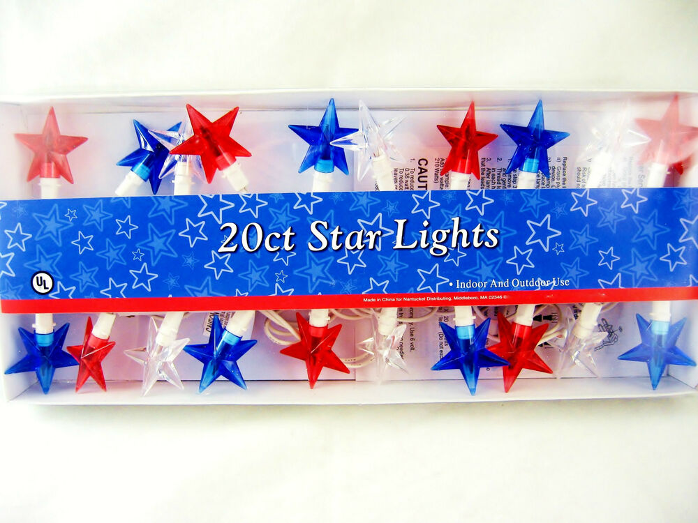 4th Of July 4th Red White Amp Blue Star Light String Indoor Outdoor FREE SHIPPING EBay