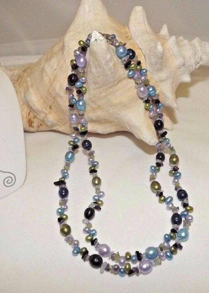 NEW HONORA RINGED PEARL NECKLACE 36 WITH GEMSTONE CHIPS AMETHYST ONYXPERIDOT EBay