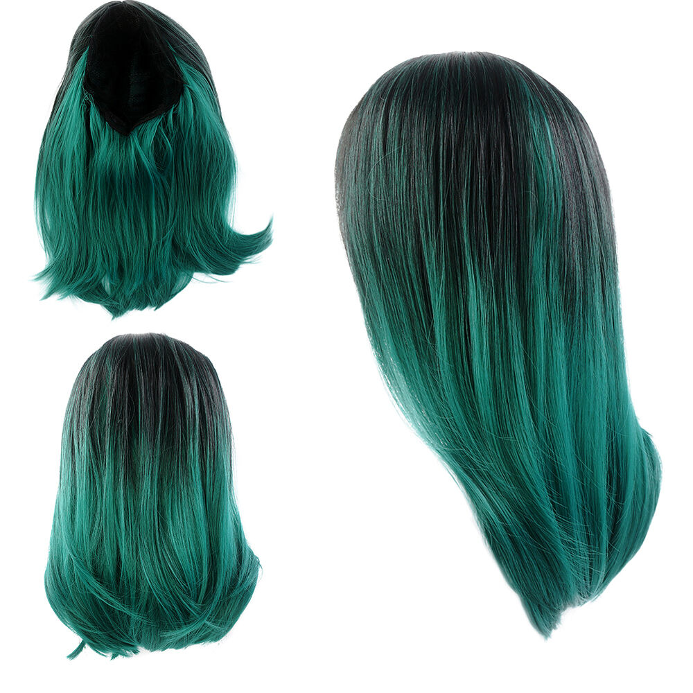 Short Straight Lace Front Wig Synthetic Hair Ombre Black