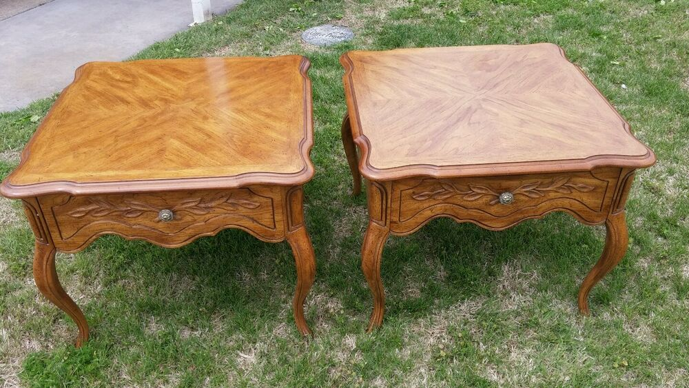 PAIR OF DREXEL HERITAGE Cabernet Country French Side End Lamp Tables With Drawer EBay