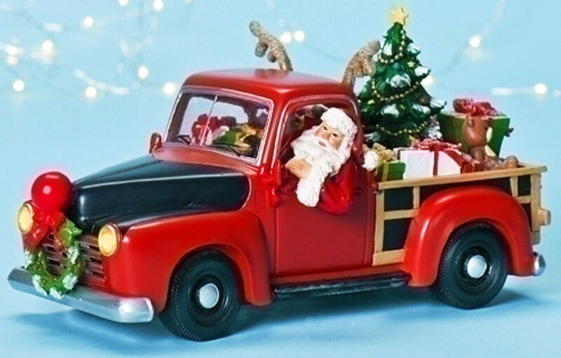 CHRISTMAS DECORATIONS SANTA IN PICK UP TRUCK LIGHTED