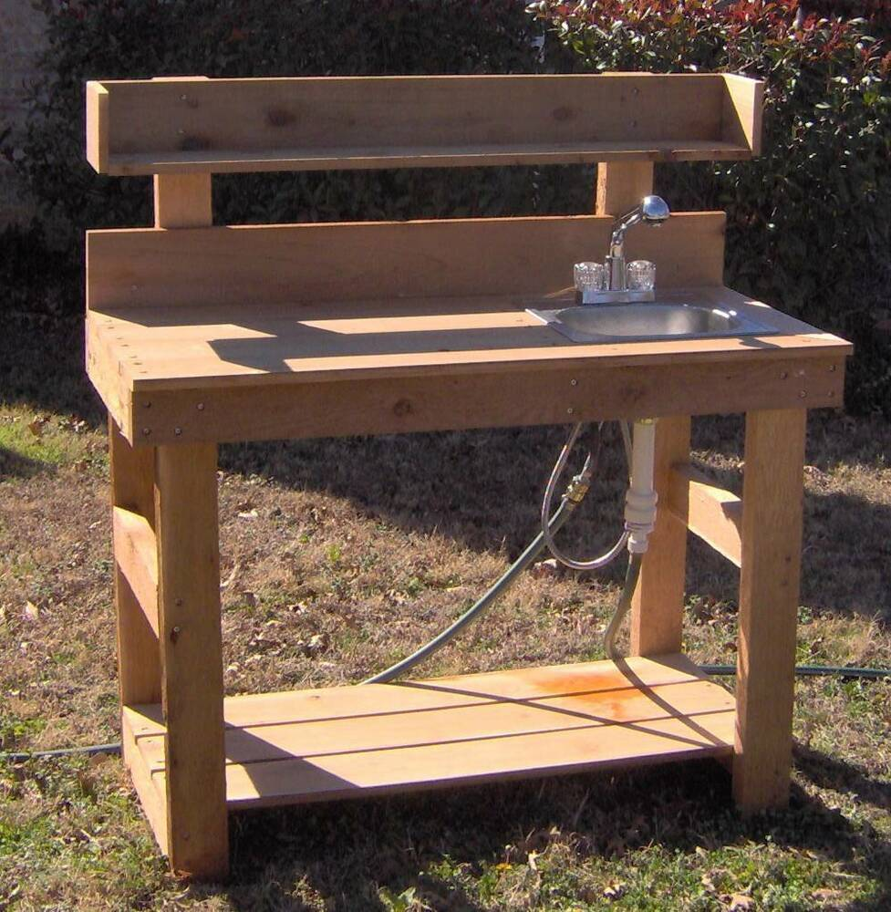 New 5 Ft Cedar Potting Bench Gardening Benches With Sink