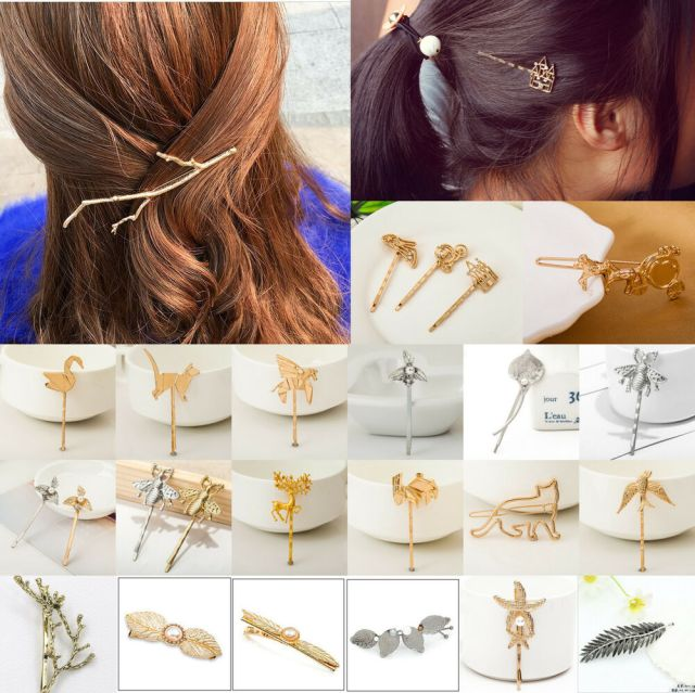 91 styles crystal rhinestone hairpins hair clips gold silver