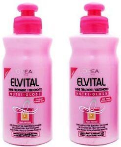 2 x l oreal loreal elvital nutri gloss leave in hair shine treatment conditioner ebay