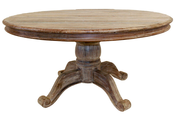 """60"""" Round Dining Table Reclaimed Teak And Old Wood Planks"""