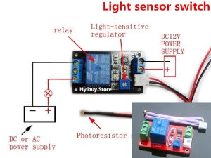 DC 12V Adjustable light sensor switch photoresistor control relay module onoff   eBay