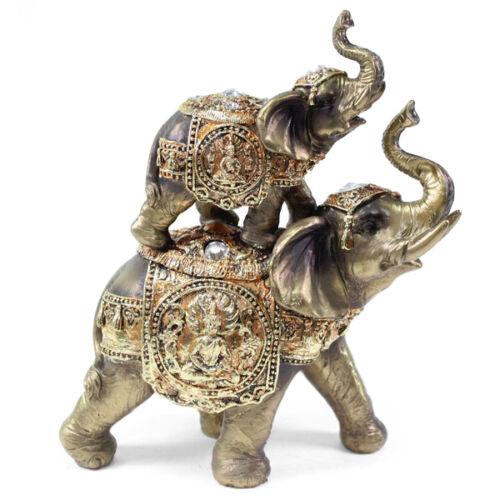 Feng Shui Bronze Up Amp Down Elephant Trunk Statue Lucky Figurine Gift Home Decor EBay