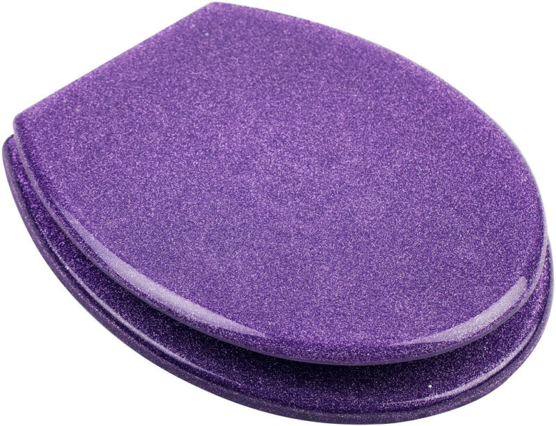 NEW GLITTER PURPLE TOILET SEAT WITH HIGH QUALITY RESIN FITTINGS INCLUDED EBay