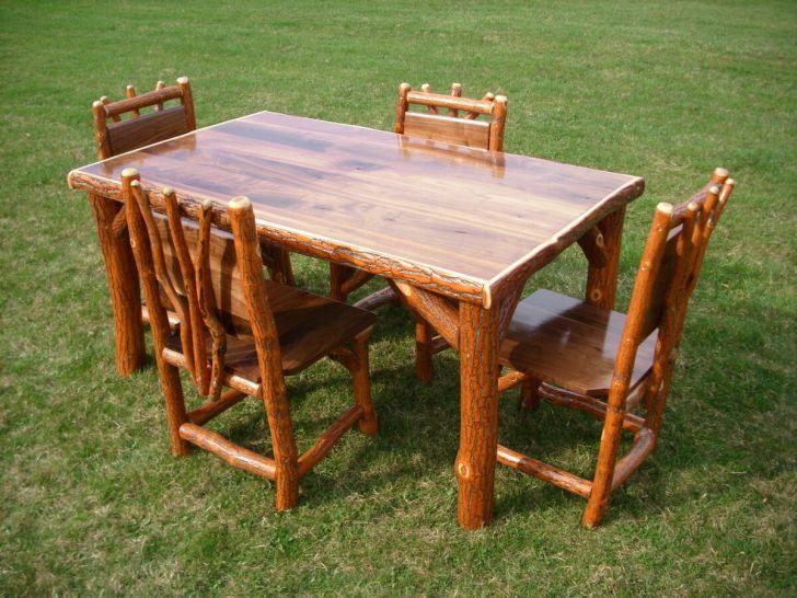 Sassafras Walnut Rustic Log Kitchen Table Chairs Amish Made Usa