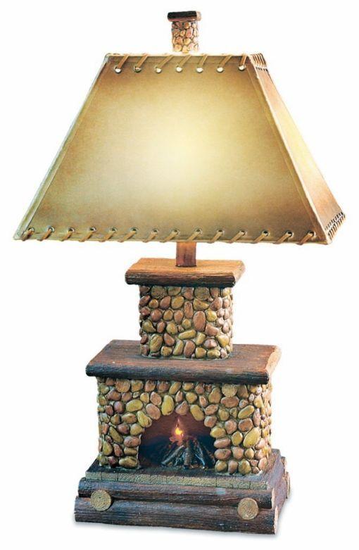 Stone Fireplace Table Lamp Flicker Flame Nightlight Rustic