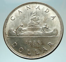 1935 CANADA under UK King GEORGE V Voyagers Genuine Silver Dollar Coin i76559