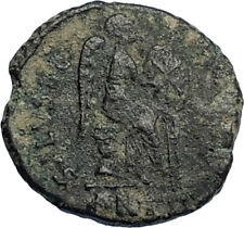 EUDOXIA Arcadius Wife 401AD Authentic Ancient Roman Coin VICTORY CHI-RHO i67743
