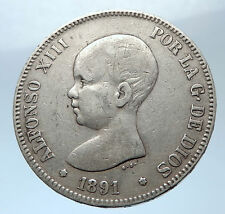 1891 SPAIN with Spanish King ALFONSO XIII Antique Silver 1 Peseta Coin i73915