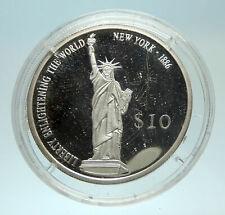 2000 LIBERIA Statue of Liberty Genuine Proof Silver $10 Liberian Coin i76882