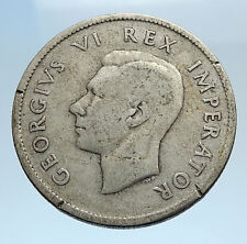 1937 SOUTH AFRICA Large GEORGE VI Shields Antique Silver 5 Shillings Coin i69426