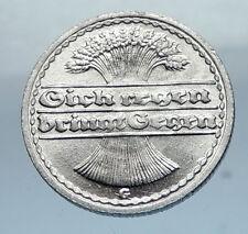 1922 G GERMANY Weimar Republic Aluminum 50 Pfennig German Coin WHEATSHEAF i66820