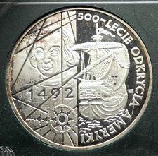 1992 POLAND Silver Proof 500th CHRISTOPHER COLUMBUS AMERICA Polish Coin i76312