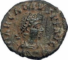 ARCADIUS Authentic 383AD Ancient Roman Coin w VICTORY ANGEL Staurogram i67201
