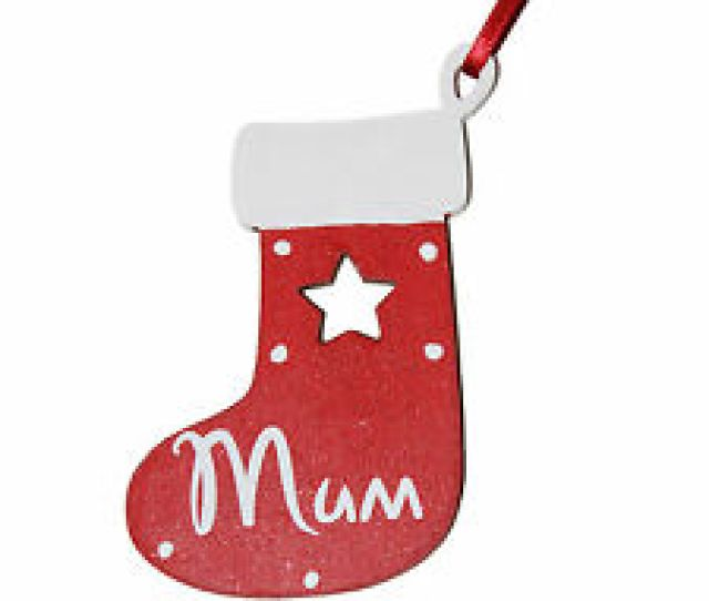 Small Red Personalised Wooden Christmas Stocking Tree Decoration Gift Tag