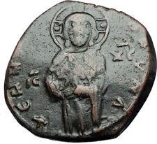 JESUS CHRIST Class C Anonymous Ancient 1034AD Byzantine Follis Coin CROSS i68067