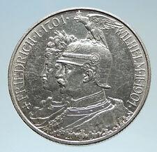 1901 Germany PRUSSIA KINGDOM Wilhelm II & Frederick I Silver 2 Mark Coin i75300