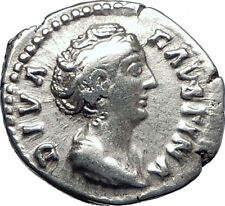 Diva FAUSTINA I Sr 141AD Rome Authentic Ancient Silver Roman Coin CERES i70282