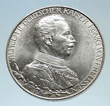 1913 PRUSSIA KINGDOM Germany WILHELM II Genuine Silver 2 Mark German Coin i75299
