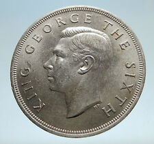 1949 NEW ZEALAND King George VI FERN PLANT UK Genuine Silver Crown Coin i75176